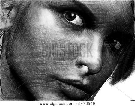 Handdrawn Beauty Female Closeup