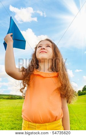 6 Years Old Girl With Paper Plane