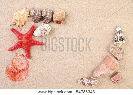 Summer concept - sand, stones and seashells frame