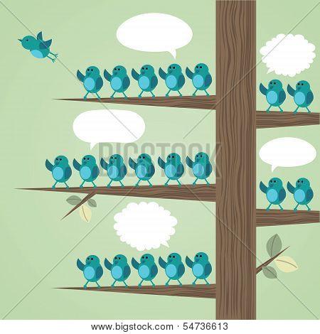 Tree with many birds.
