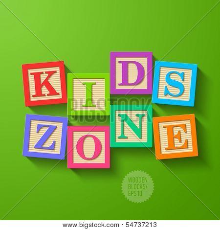Kids Zone - wooden blocks. Vector.