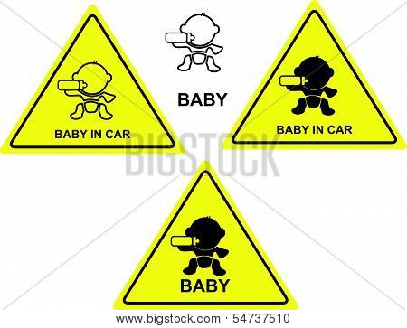 baby in car sign