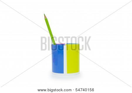 Green Pencil And Holder Isolated On White Background