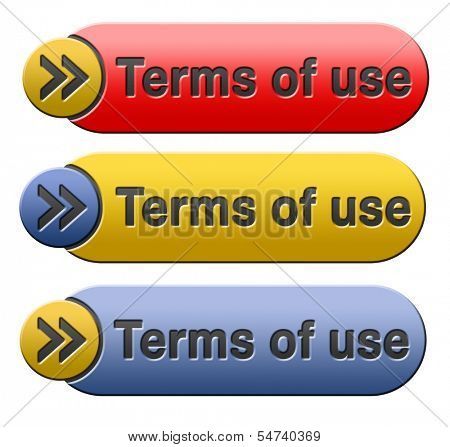 Terms of use or user terms button or icon