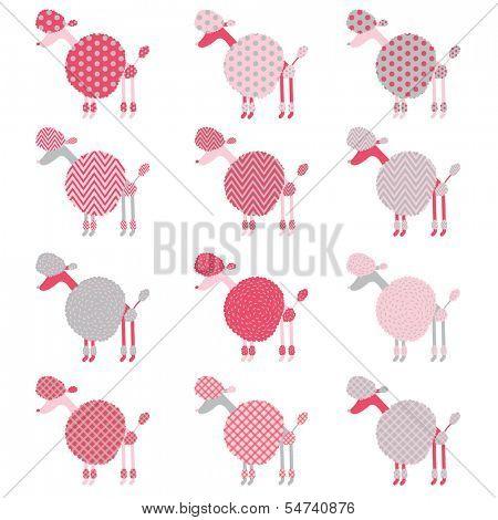Cute Pink Grey Poodle pattern