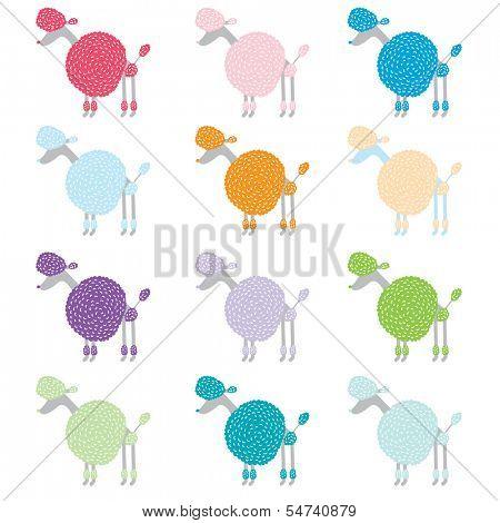 Colorful Poodle Pattern Design