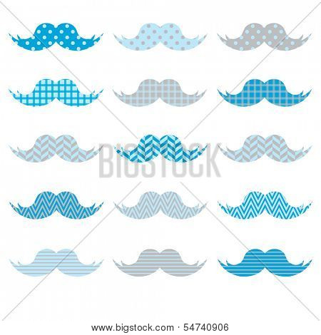 Cute Blue Mustaches pattern