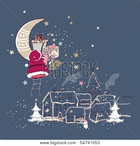 santa claus climbing to the moon