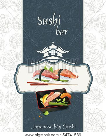 Japanese Cuisine - Miso Soup. Seafood set - traditional Japanese food serve with chopsticks, vector illustration