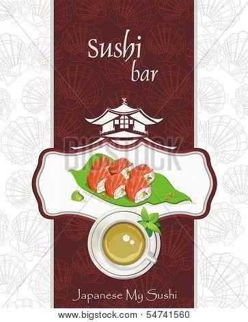 Restaurant menu design. Seafood set of sashimi - traditional Japanese food, vector illustration