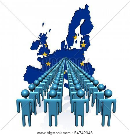 Lines of people with EU map flag illustration