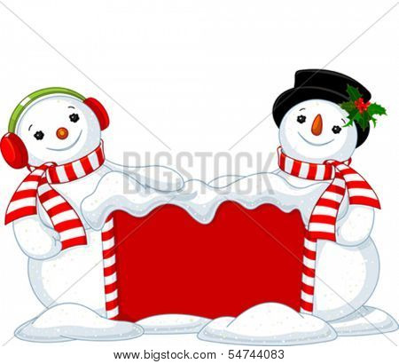 Two cute Snowmen near snowbound Christmas board