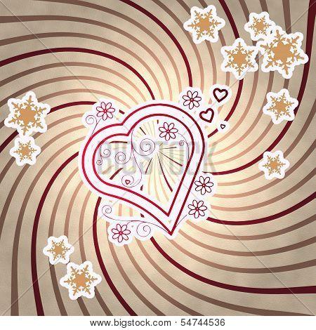 Red Vintage Wooden Heart Symbol