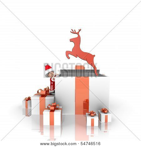 Santa Claus With Gift And Deer Label