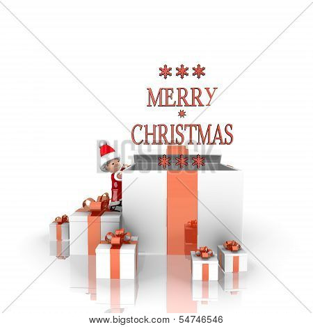 Santa Claus With Gift And Merry Christmas Sign