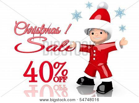 Christmas Discount 40 Percent Off Symbol Presented By Mini Santa Claus