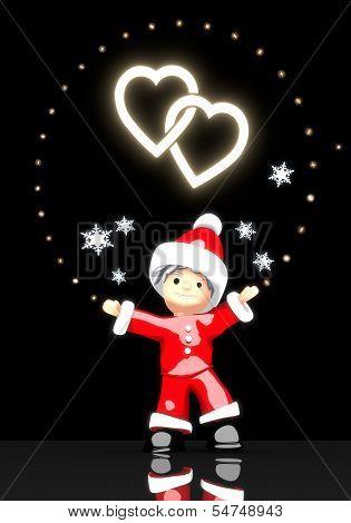 Santa Claus Under A Glaring Two Hearts Symbol
