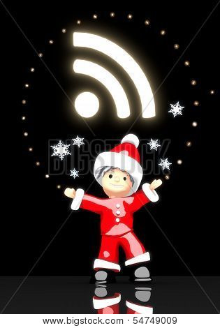 Santa Claus Under A Glaring Wifi Sign