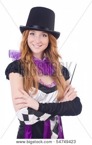 Magician woman with wand on white
