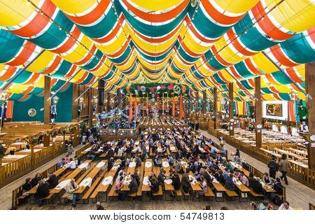 MUNICH - SEPTEMBER 30: The Hippodrom Beer Tent on the Theresienwiese Oktoberfest fair grounds September 30, 2013 in Munich, Germany. The