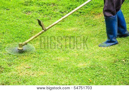 Worker Mowing Grass