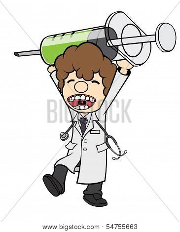 Doctor Carrying Big Injection