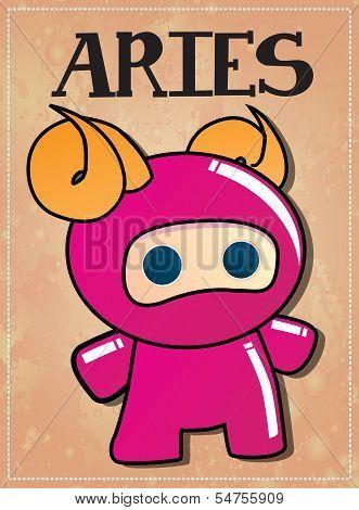 Zodiac sign Aries with cute black ninja character, vector