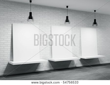 Interior Of A Room With Three Posters