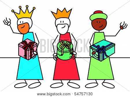 Stick Figure Three Wise Men Gifts