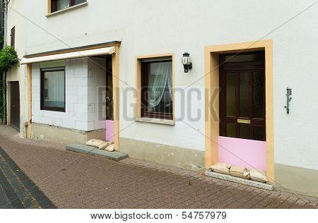 Sandbags In Front Of A Door