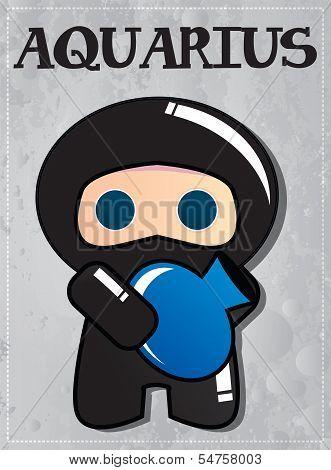 Zodiac sign Aquarius with cute ninja character, vector