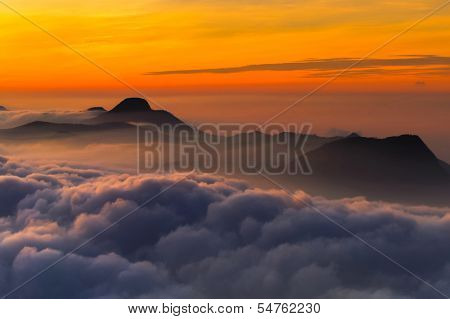 Morning Scene From The Top Of Adam's Peak