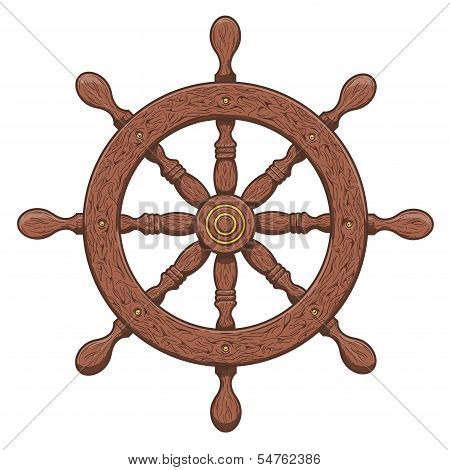 Detailed Brown Outlines Nautical Rudder Isolated On White Background. Ship Element. Vector Illustrat