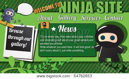 Website template design elements, with ninja characters, vector illustration