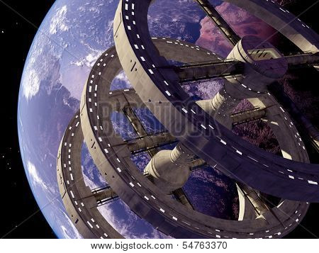 Space station in outer space..