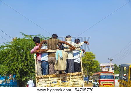 People On Highway 71 In Overloaded Truck