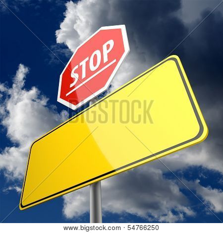 Stop Word On Road Sign Red And Blank Space On Road Sign Yellow