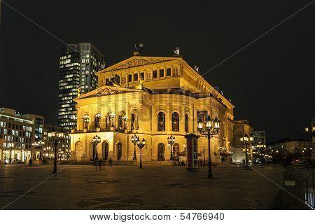 Lte Oper At Night  In Frankfurt