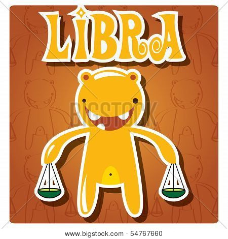 Zodiac sign Libra with cute colorful monster, vector