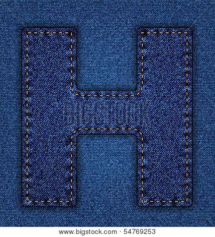 Jeans alphabet letter H