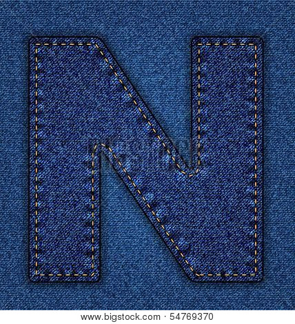 Jeans alphabet letter N