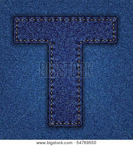 Jeans alphabet letter T