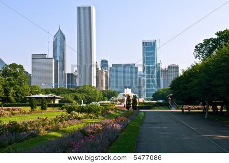 Chicago's skyline at morning Chicago IL USA
