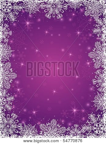Purple Background With  Frame Of Snowflakes, Vector