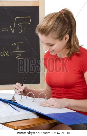 Caucasian Schoolgirl By Desk Studying Math Exam