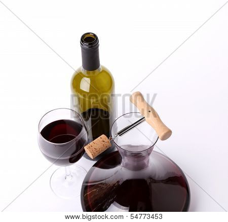 decanter, bottle and glass with red wine top view