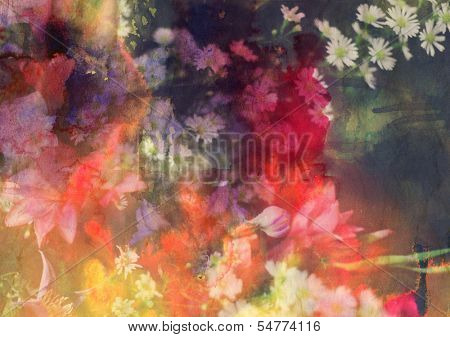 Abstract floral background combined with grunge ink paper texture