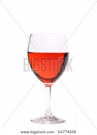 Glass of pink wine