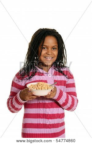 black girl hold bowl of cereal