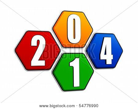 New Year 2014 On Pied Hexagons